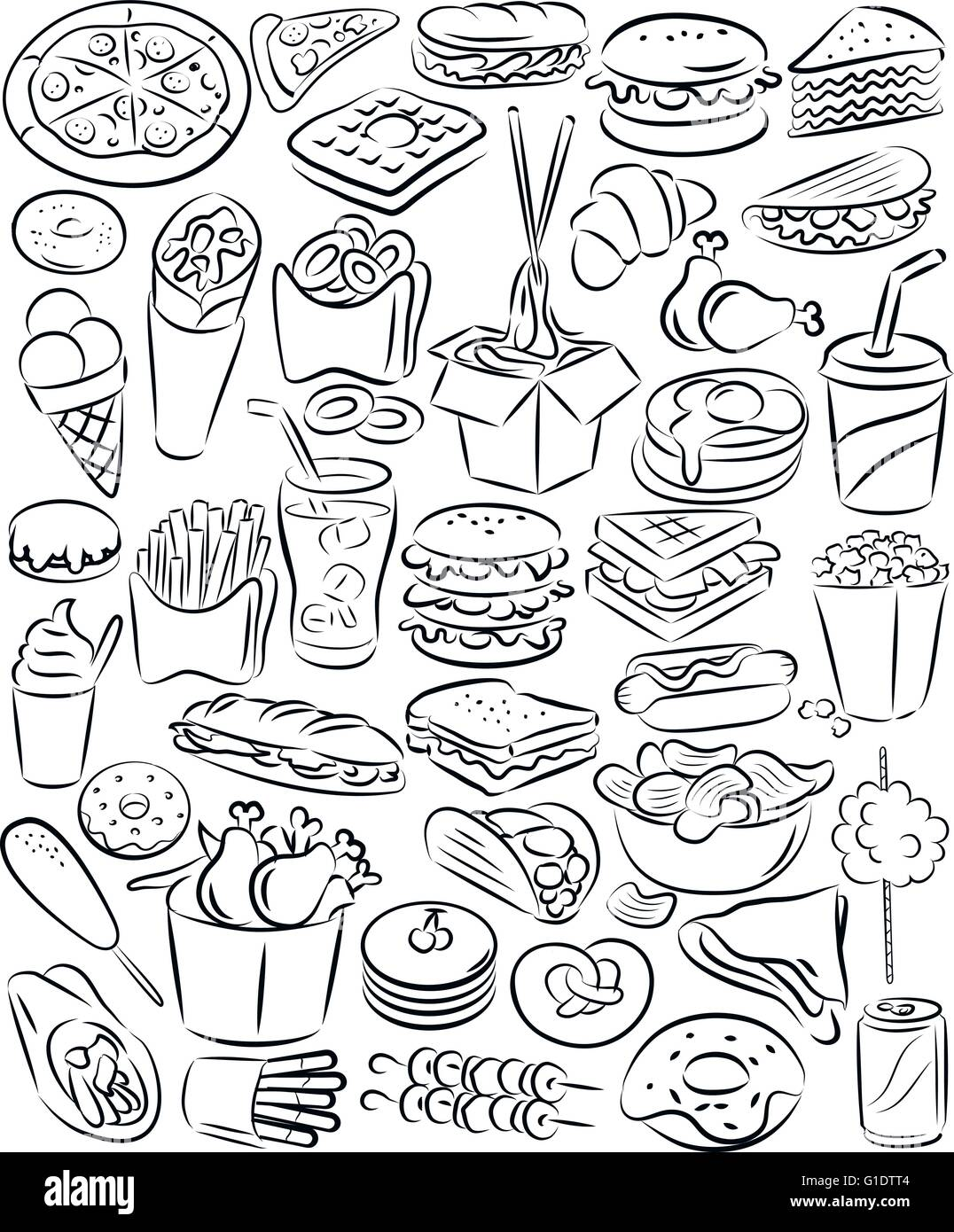 vector illustration of fast food collection in line art mode - Stock Vector