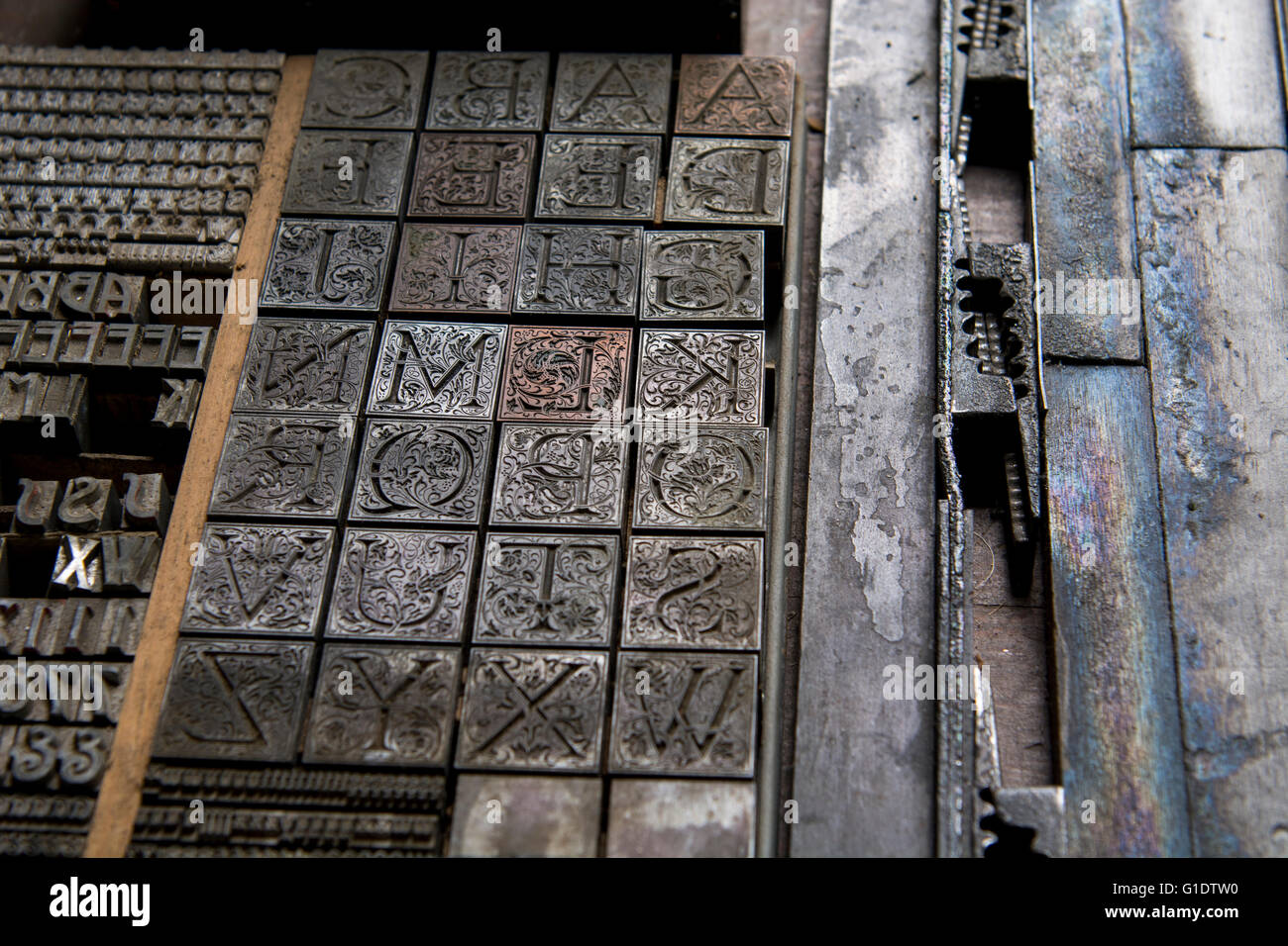 New York, Cooperstown, Farmer's Museum. Antique typeset letters. - Stock Image