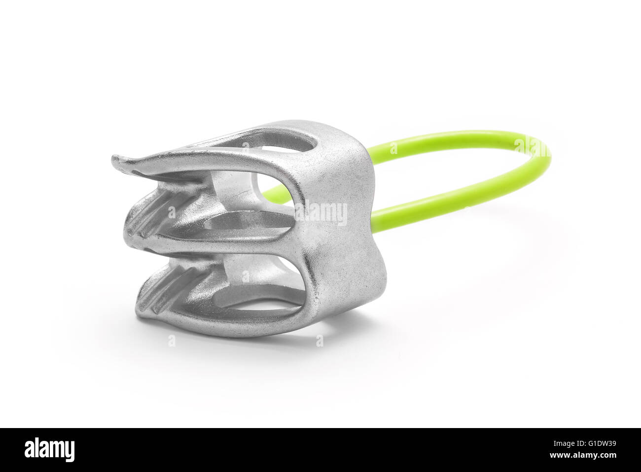 Belay atc rappel device isolated - Stock Image