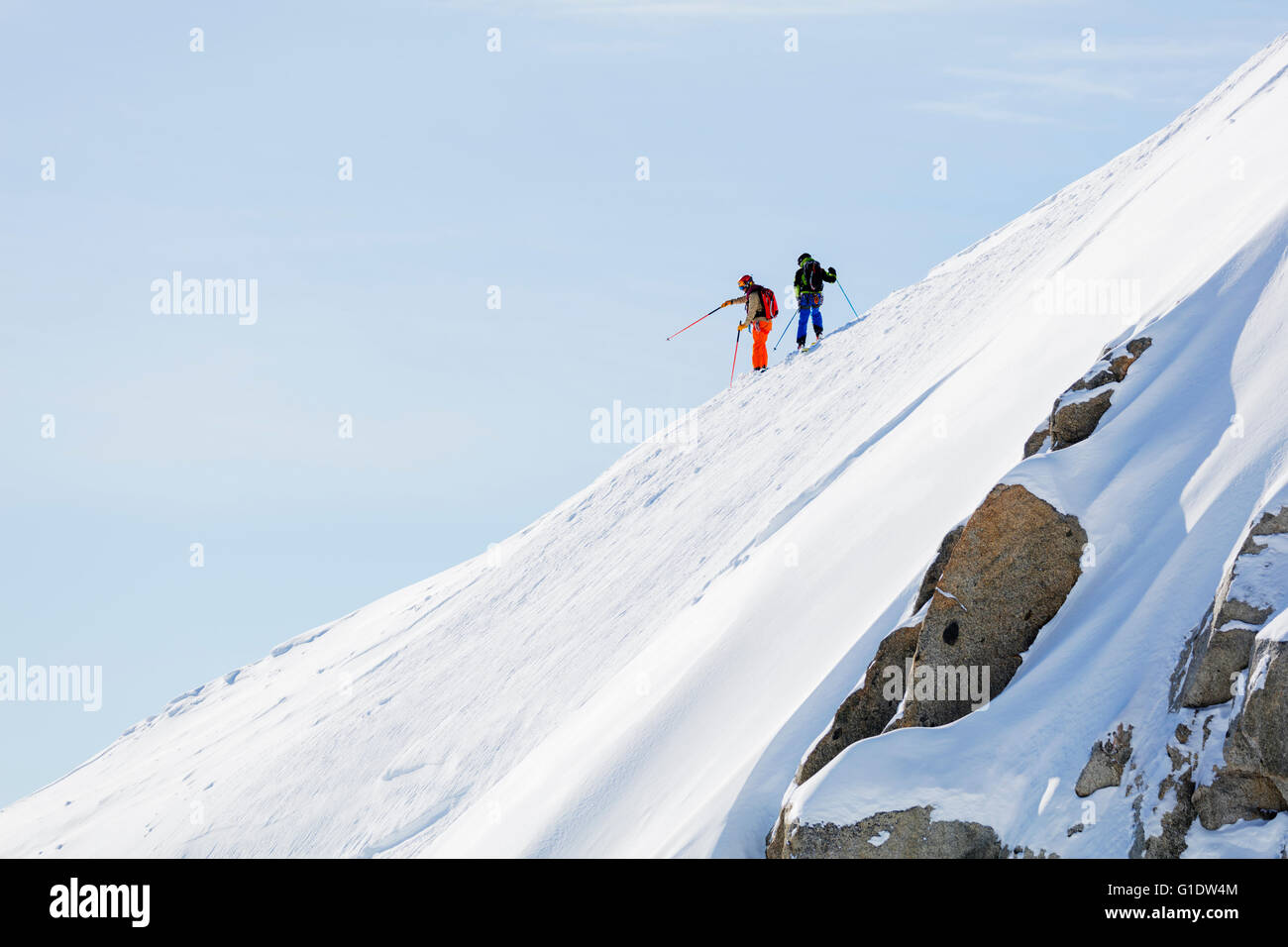 Europe, France, Haute Savoie, Rhone Alps, Chamonix, skier on the Vallee Blanche off piste Stock Photo