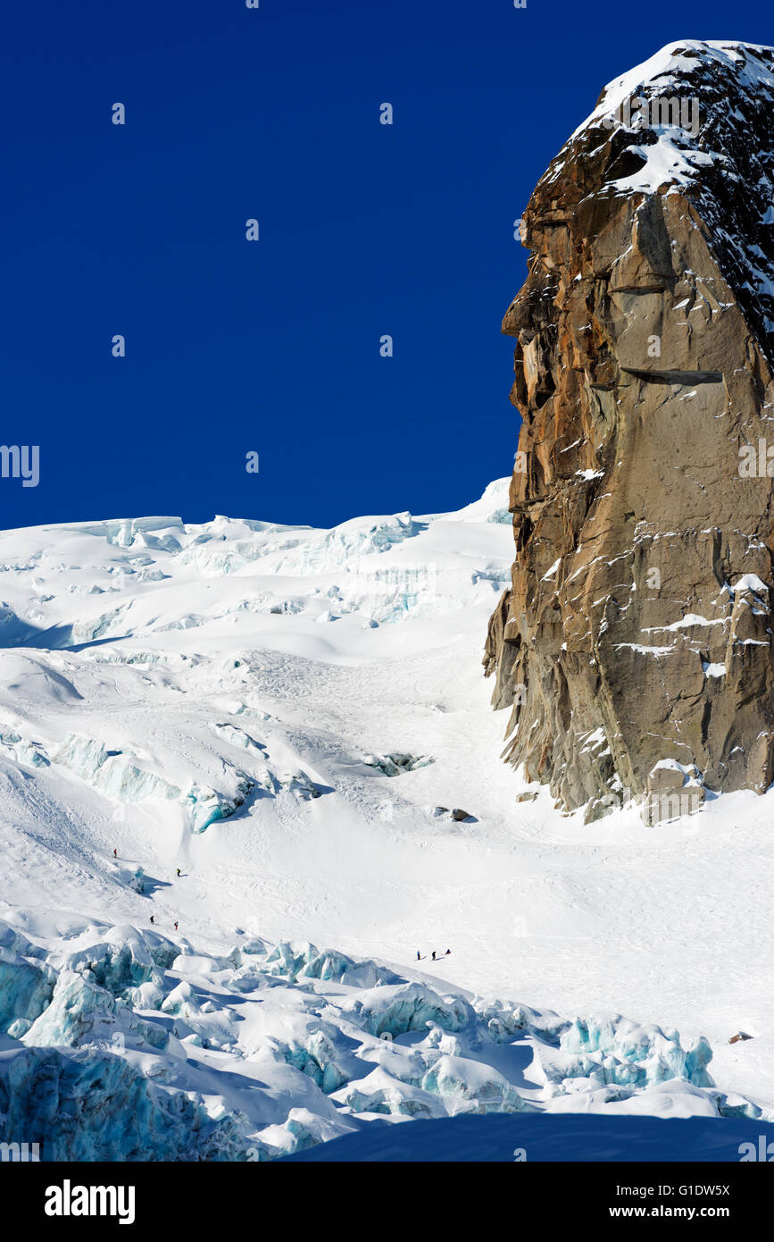 Europe, France, Haute Savoie, Rhone Alps, Chamonix, skier on the Vallee Blanche off piste - Stock Image