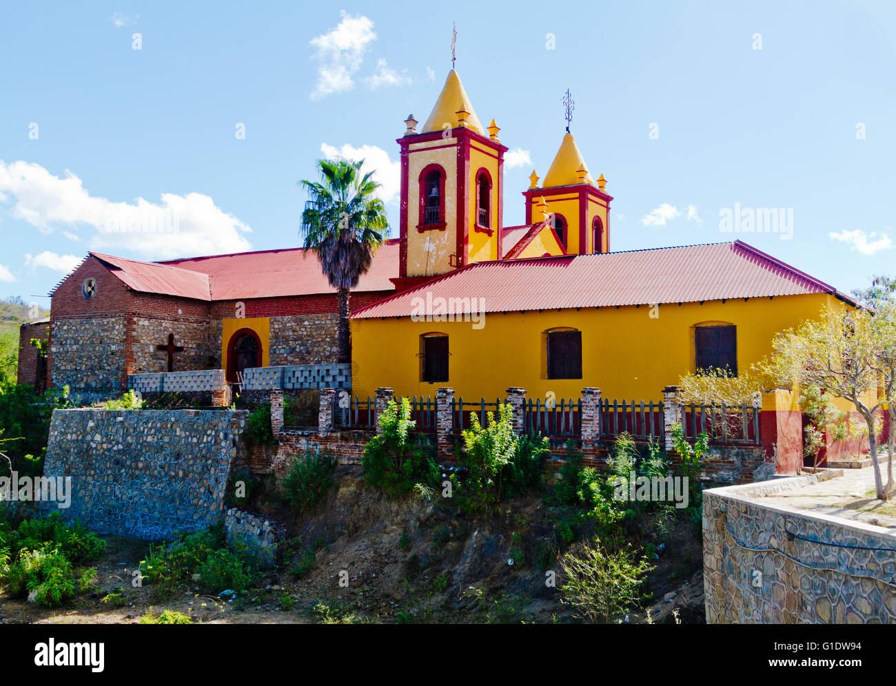 Parroquia de Nuestra Senora de Guadalupe, Parish of Our Lady of Guadalupe in El Triunfo, Baja Sur, Mexico Stock Photo