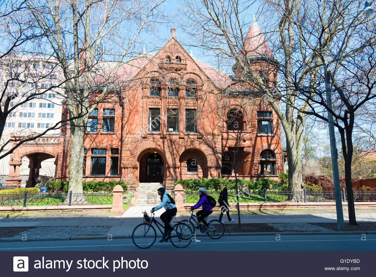 Gooderham house currently York Club. The landmark is a Romanesque Revival architecture in red stone. The York Club - Stock Image