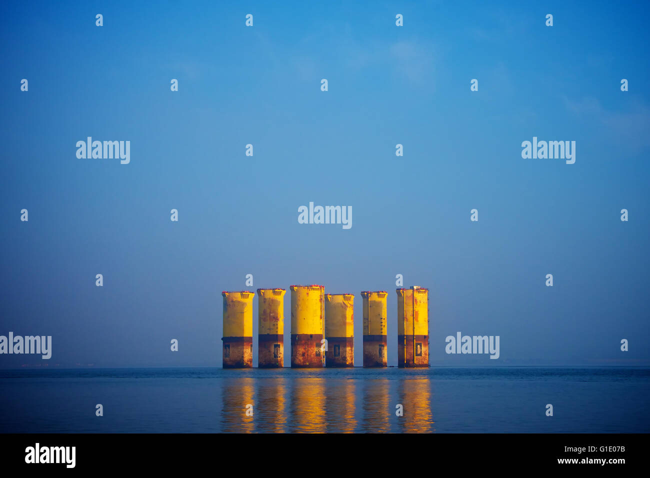 Oil rig legs standing the deep water of the Cromarty Firth - Stock Image