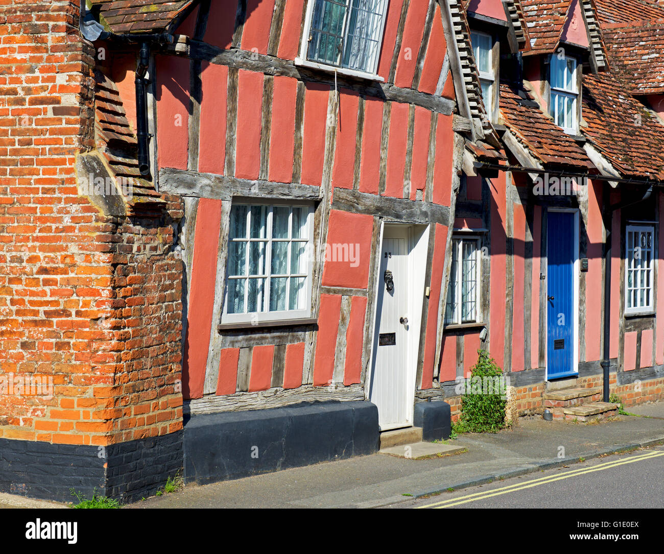 Half-timbered houses in the village of Lavenham, Suffolk, England UK Stock Photo