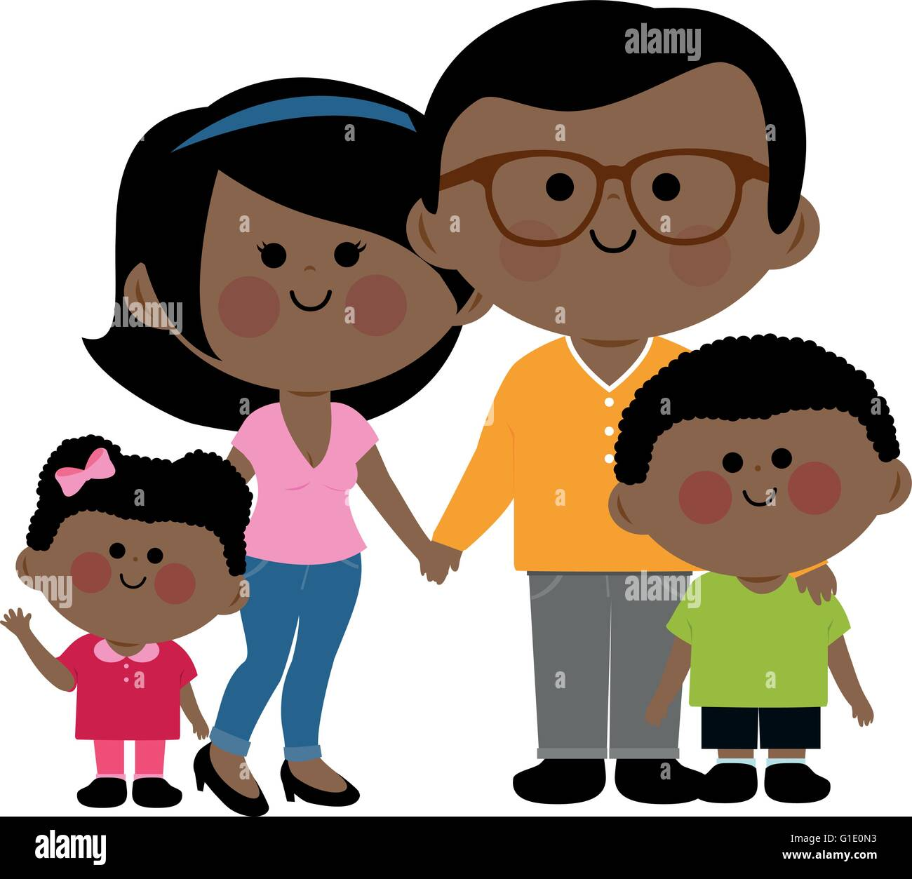 Happy African family: Two parents and their children, a girl and a boy. - Stock Vector