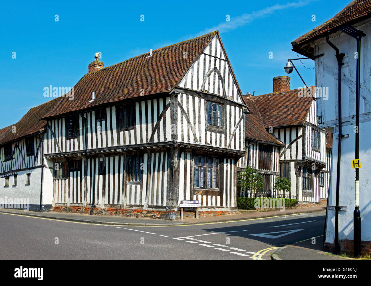 Half-timbered buildings on Water Street, in the village of Lavenham, Suffolk, England UK - Stock Image