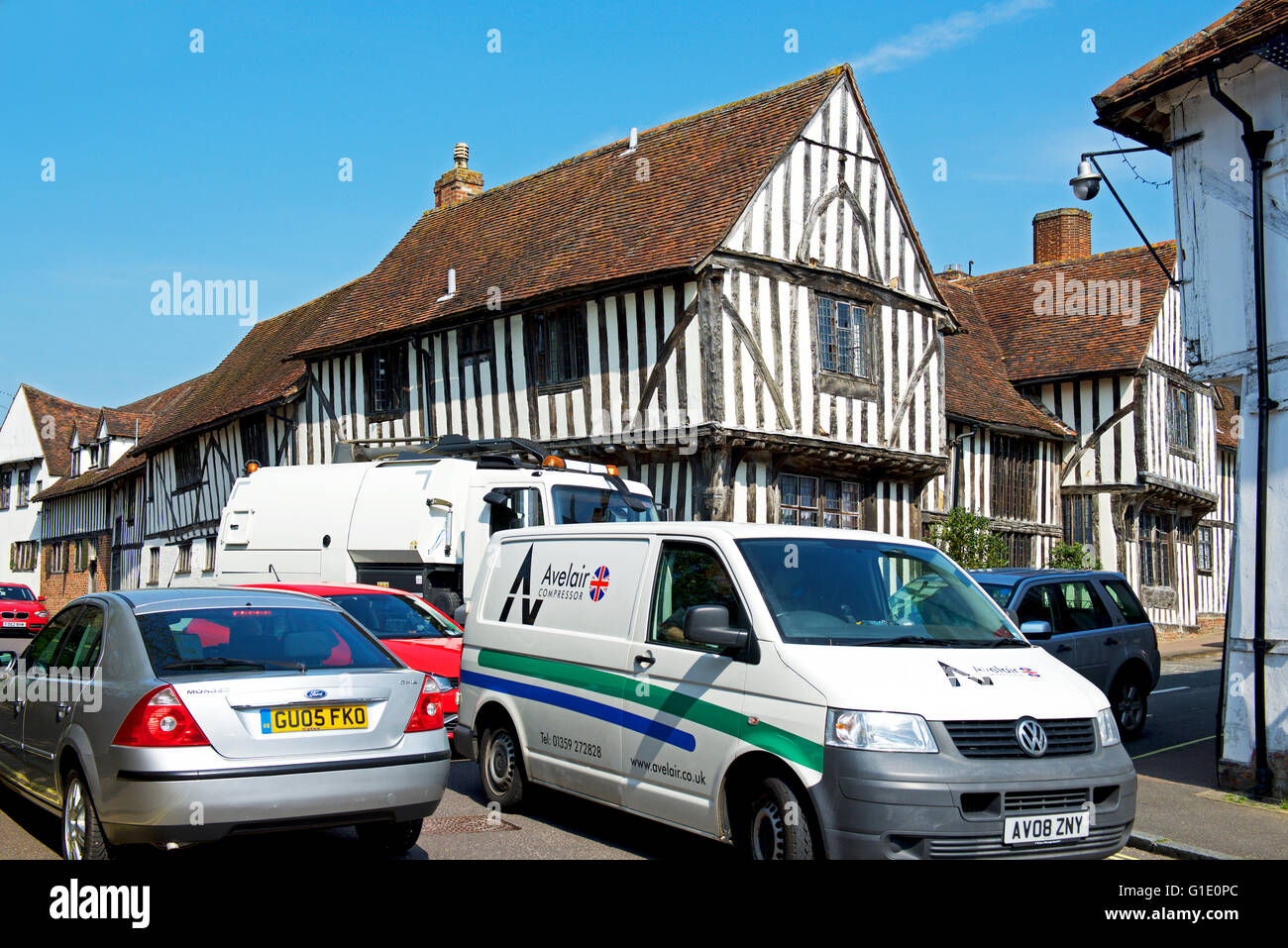 Traffic gridlock in the village of Lavenham, Suffolk, England UK - Stock Image