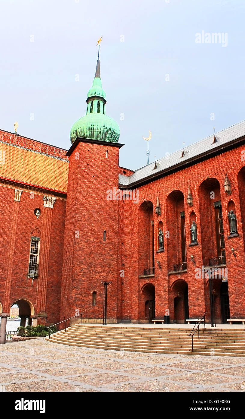 Yard of Stockholm City Hall, Municipal Council for the City of Stockholm in Sweden - Stock Image