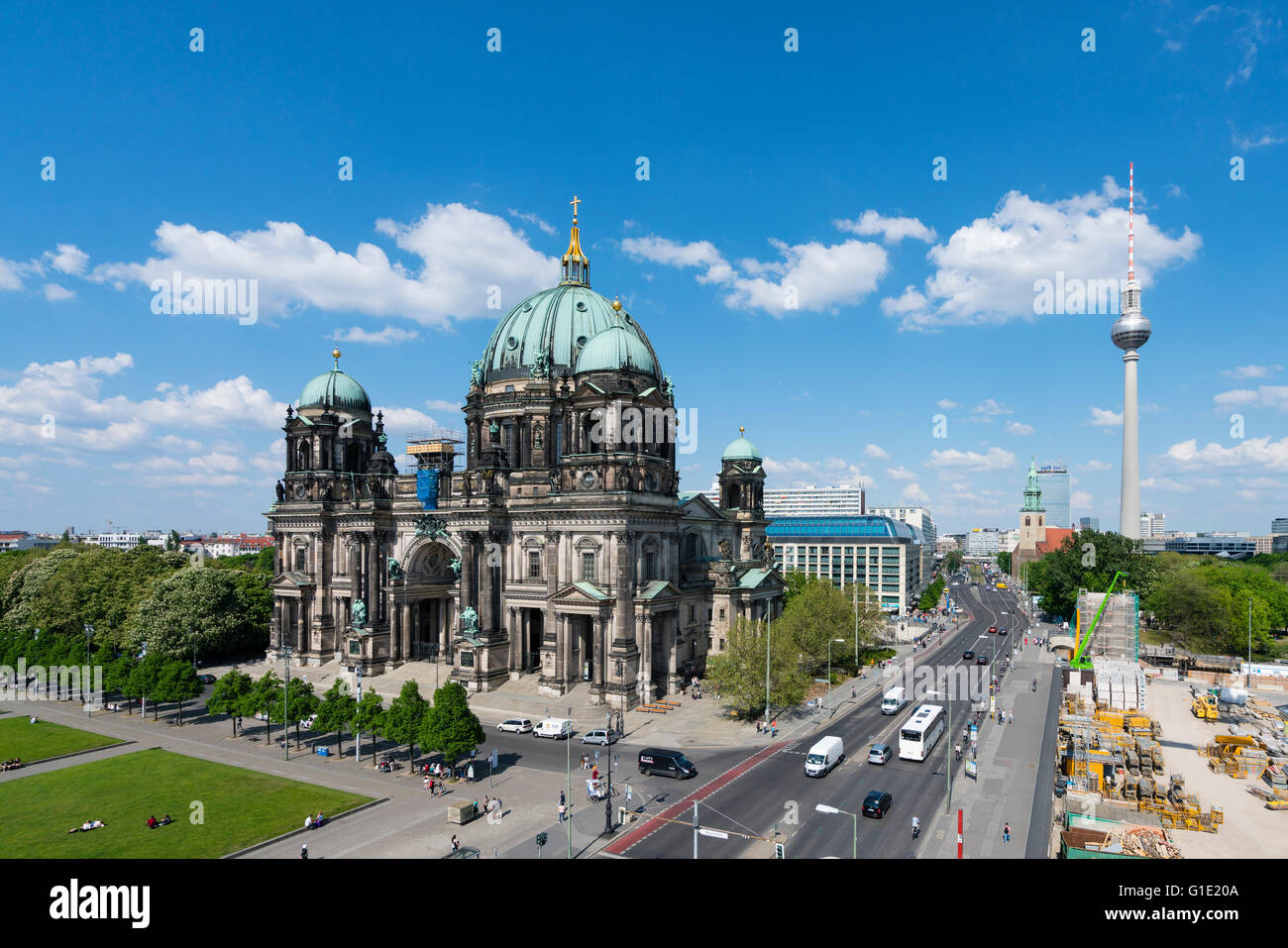 Exterior skyline view of Berliner Dom  , Berlin Cathedral and Fernsehturm or TV Tower in Mitte Berlin Germany - Stock Image