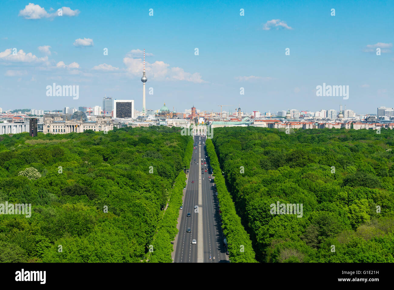 Skyline of Berlin and Tiergarten park towards Brandenburg Gate in Germany - Stock Image
