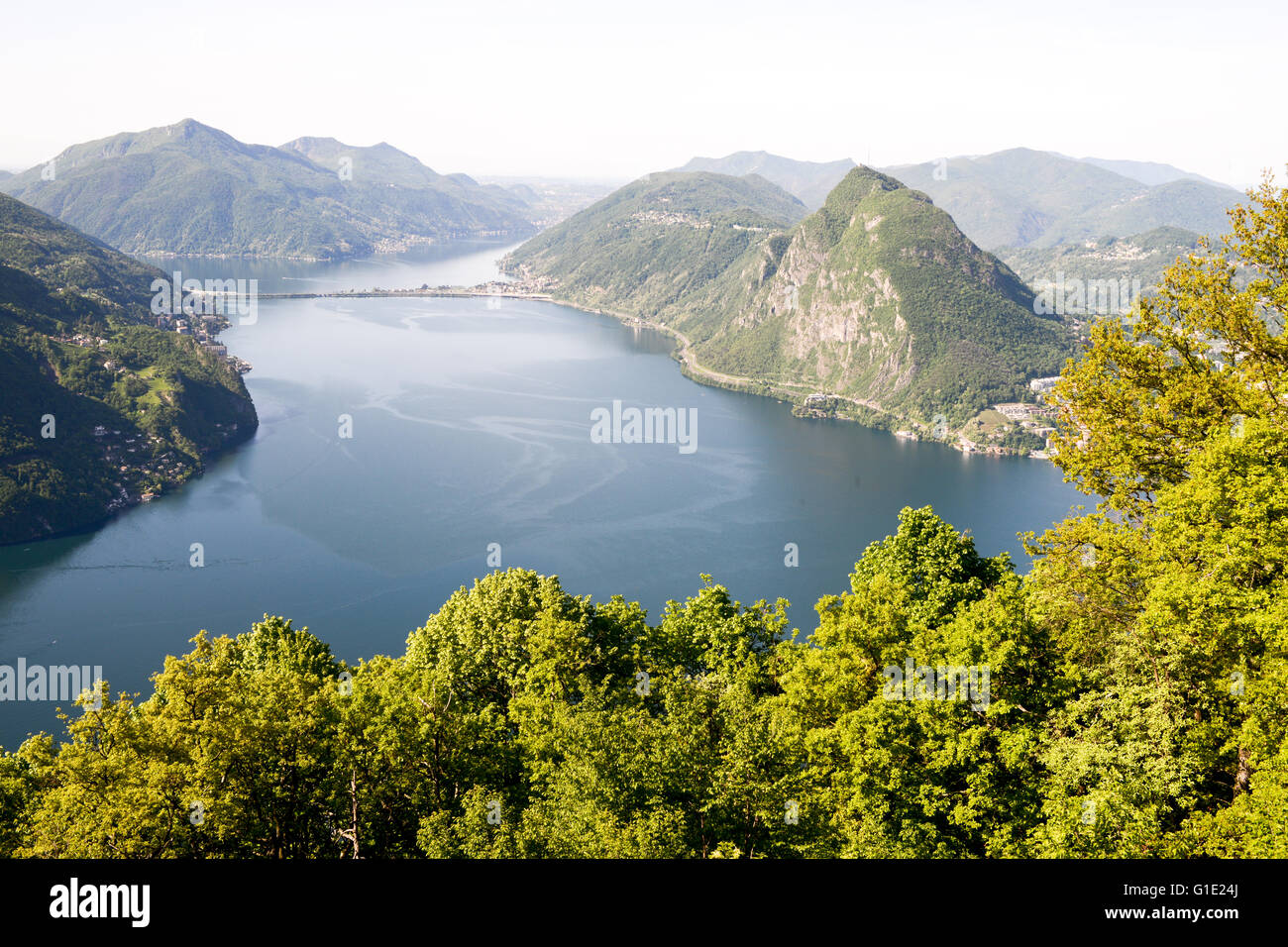 The bay of Lugano from Mount Bre above the City Stock Photo