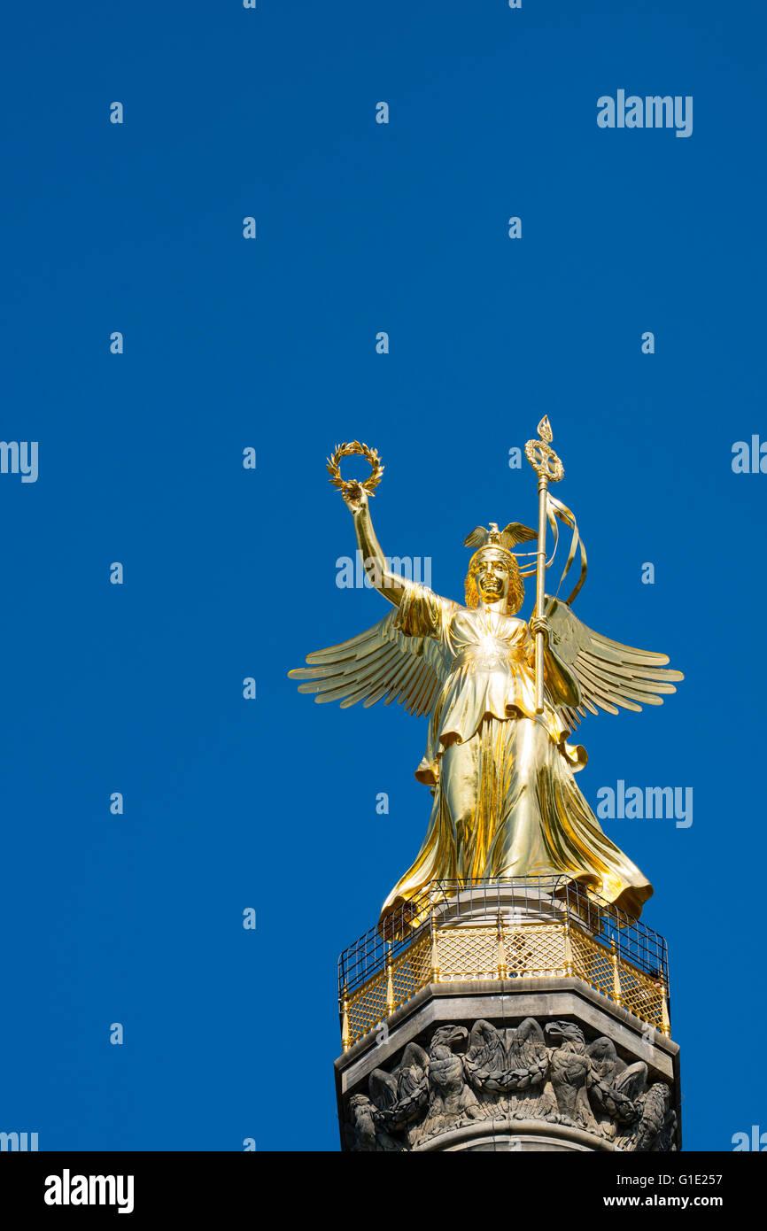 Victory Column or SiegessŠule statue in Tiergarten Berlin Germany - Stock Image