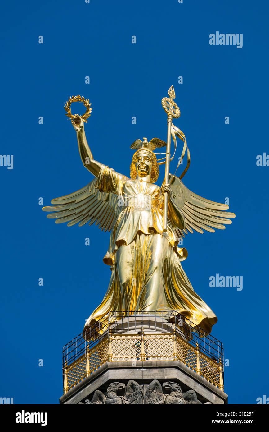 Victory Column or Siegessaule statue in Tiergarten Berlin Germany - Stock Image