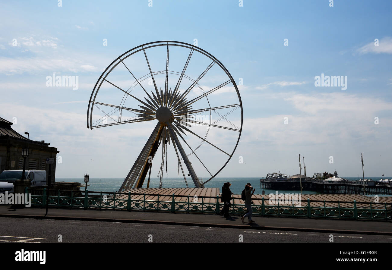 Brighton UK 13th May 2016  - Looking like a giant Pacman eating the seafront the Brighton Wheel which has been in - Stock Image