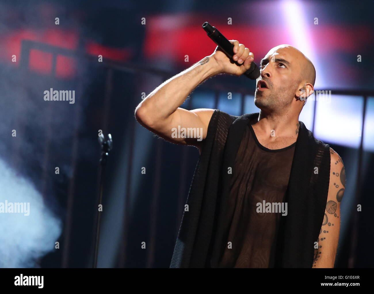 Stockholm, Sweden. 13th May, 2016. Minus One band member Francois Micheletto representing Cyprus performs during - Stock Image