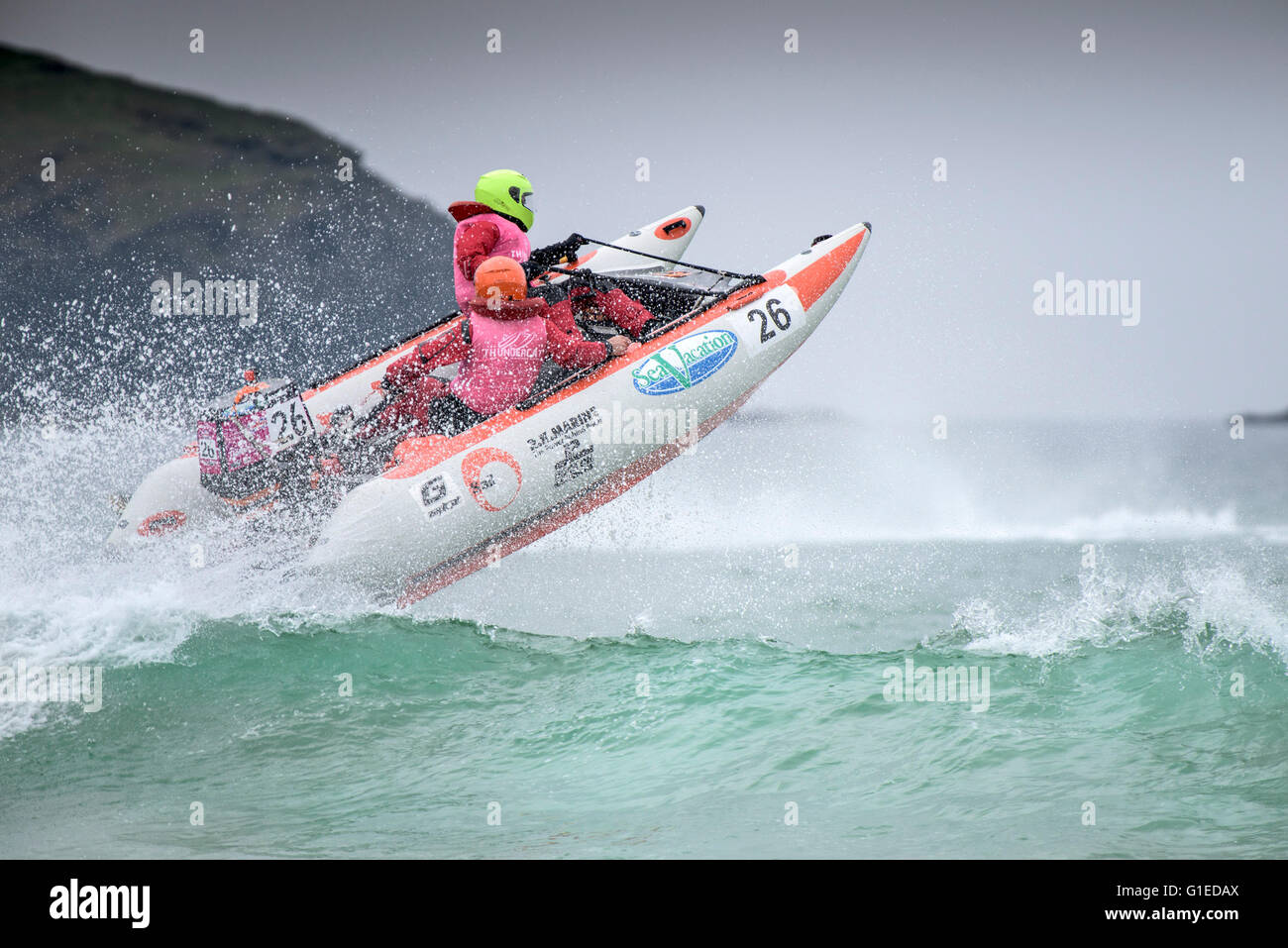 Fistral Beach; Newquay, Cornwall. 14th May, 2016.  Spectacular aderenaline pounding action at the ThunderCat Racing - Stock Image