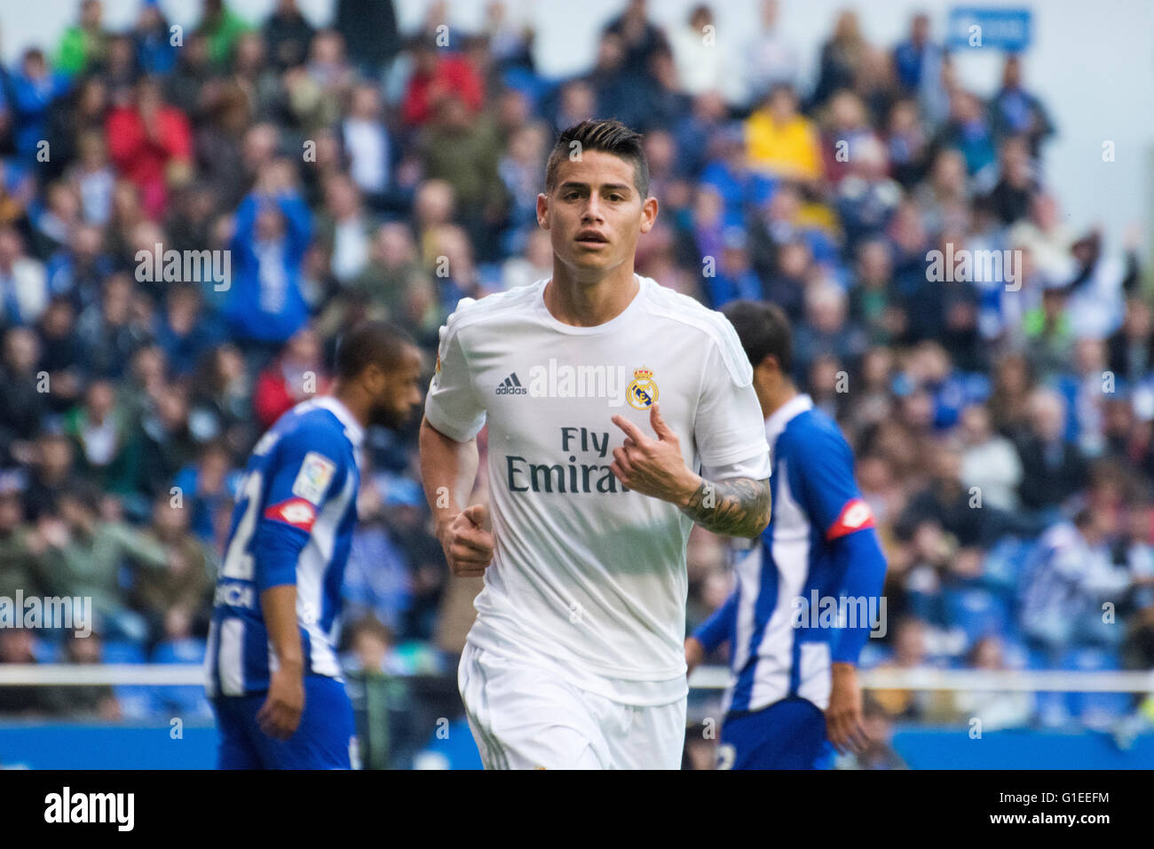 La Coruña, Spain. 14th May, 2016. James Rodriguez (Real Madrid) during the football match of last round of - Stock Image