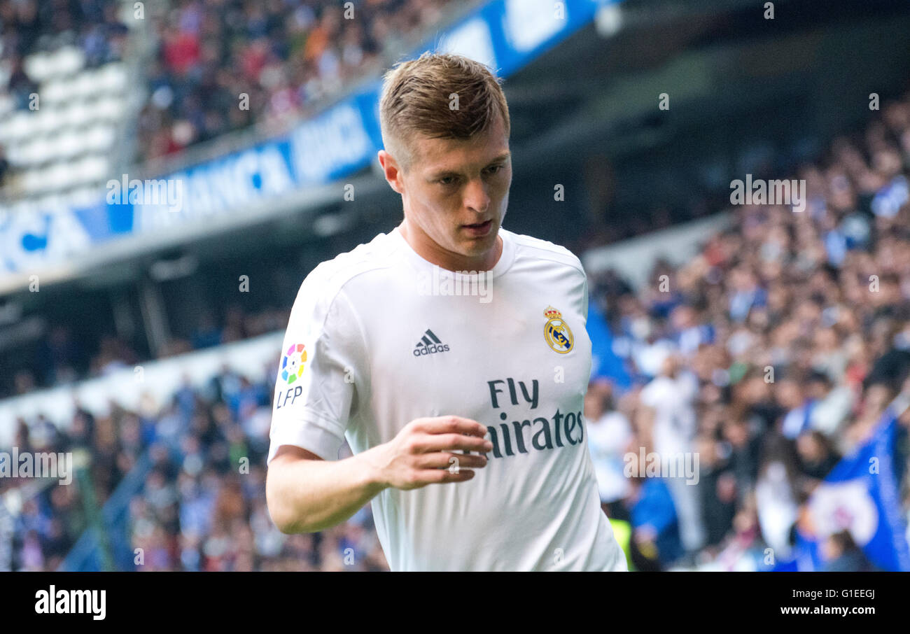 La Coruña, Spain. 14th May, 2016. Toni Kroos (midfielder, Real Madrid) during the football match of last round - Stock Image
