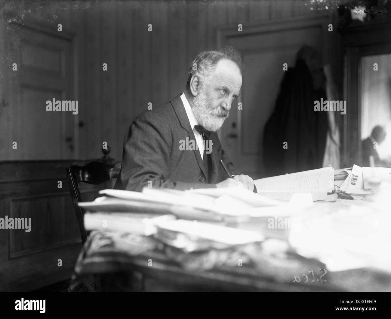 Writer WT (William Thomas) Stead at a Peace Conference at The Hague. WT Stead was an English journalist and editor. - Stock Image