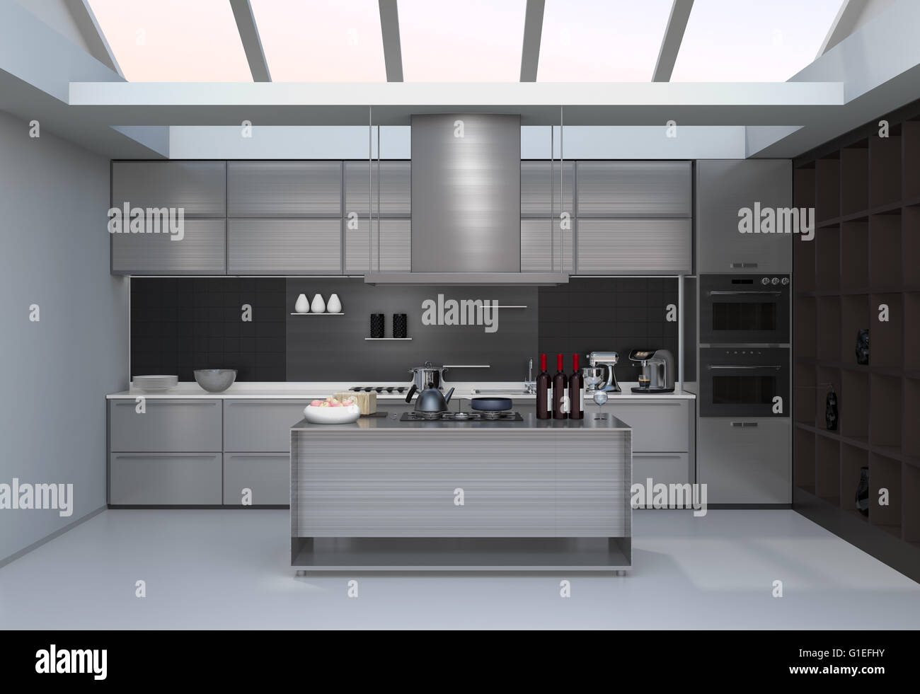 Modern Kitchen Interior With Smart Appliances In Silver Color Coordination.  3D Rendering Image.