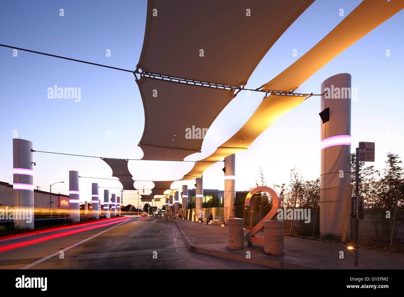 Martin Luther King Jr. Transit Center, Compton, CA by Base Architecture. Platform view. - Stock Image