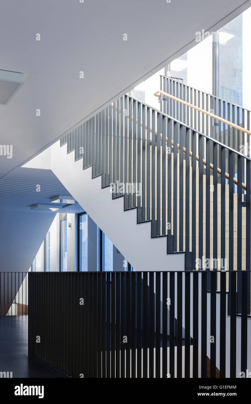 Jacob-und-Wilhelm-Grimm-Zentrum, Berlin, Germany. Modern staircases and railings. - Stock Image