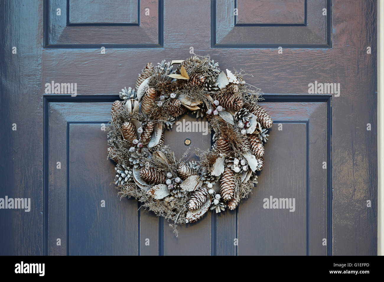 Christmas Garland on Door. Garland with acorns on the door. - Stock Image