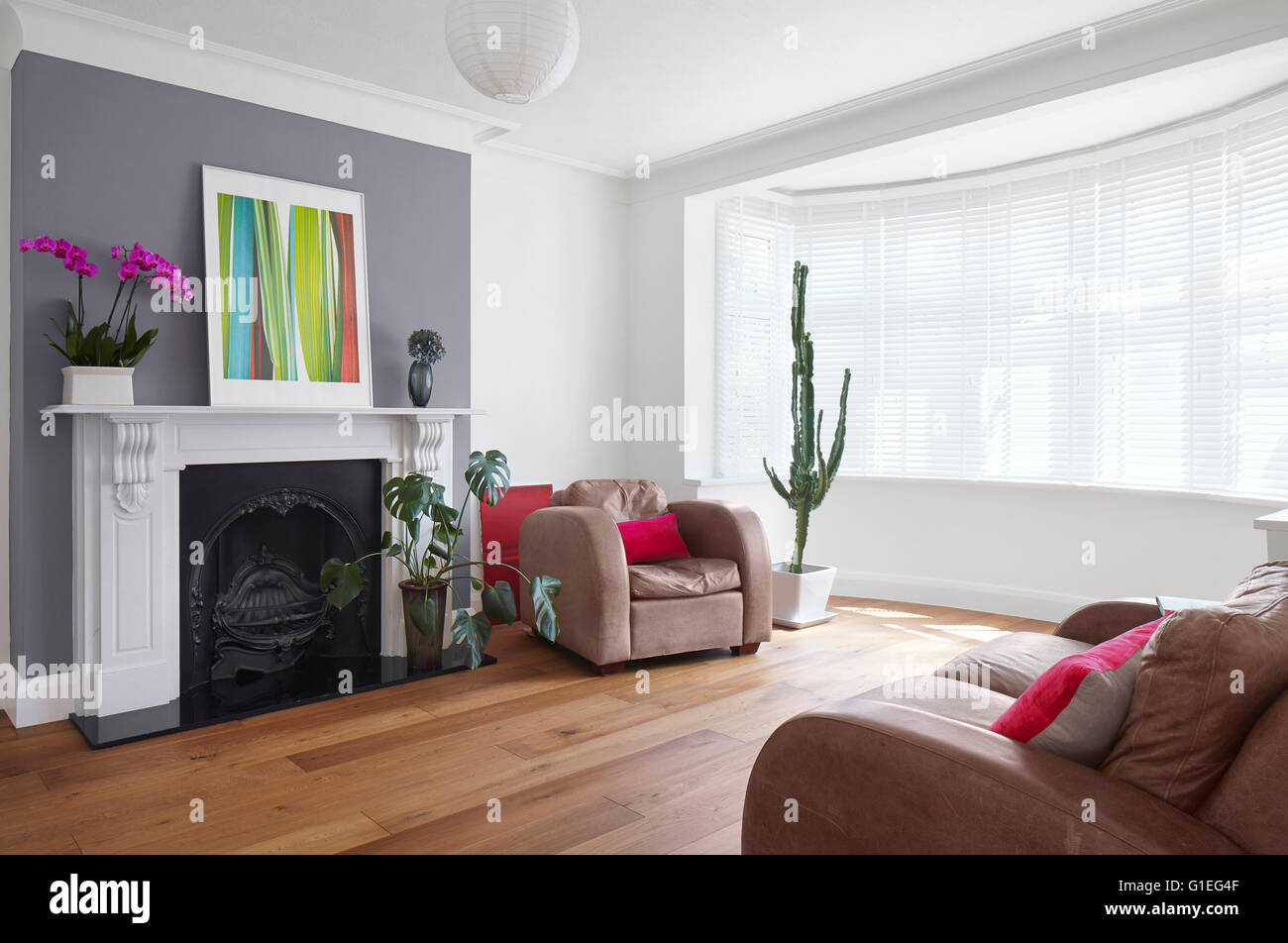 Single storey extension, Mincheon Road, London. Spacious modern living room with curved windows lining the wall. - Stock Image