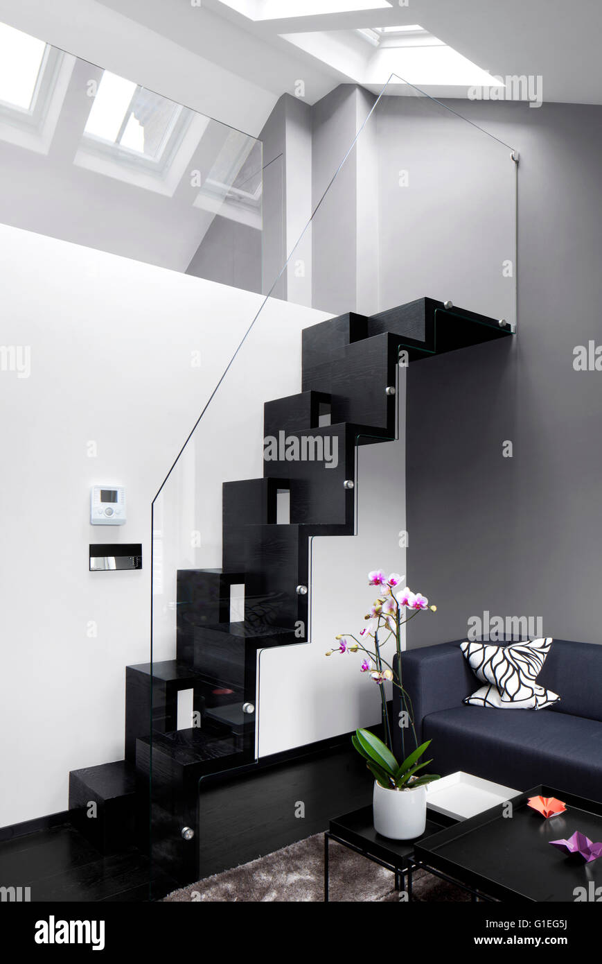 Soho House. Staircase to mezzanine level in Georgian roof. Modern ...