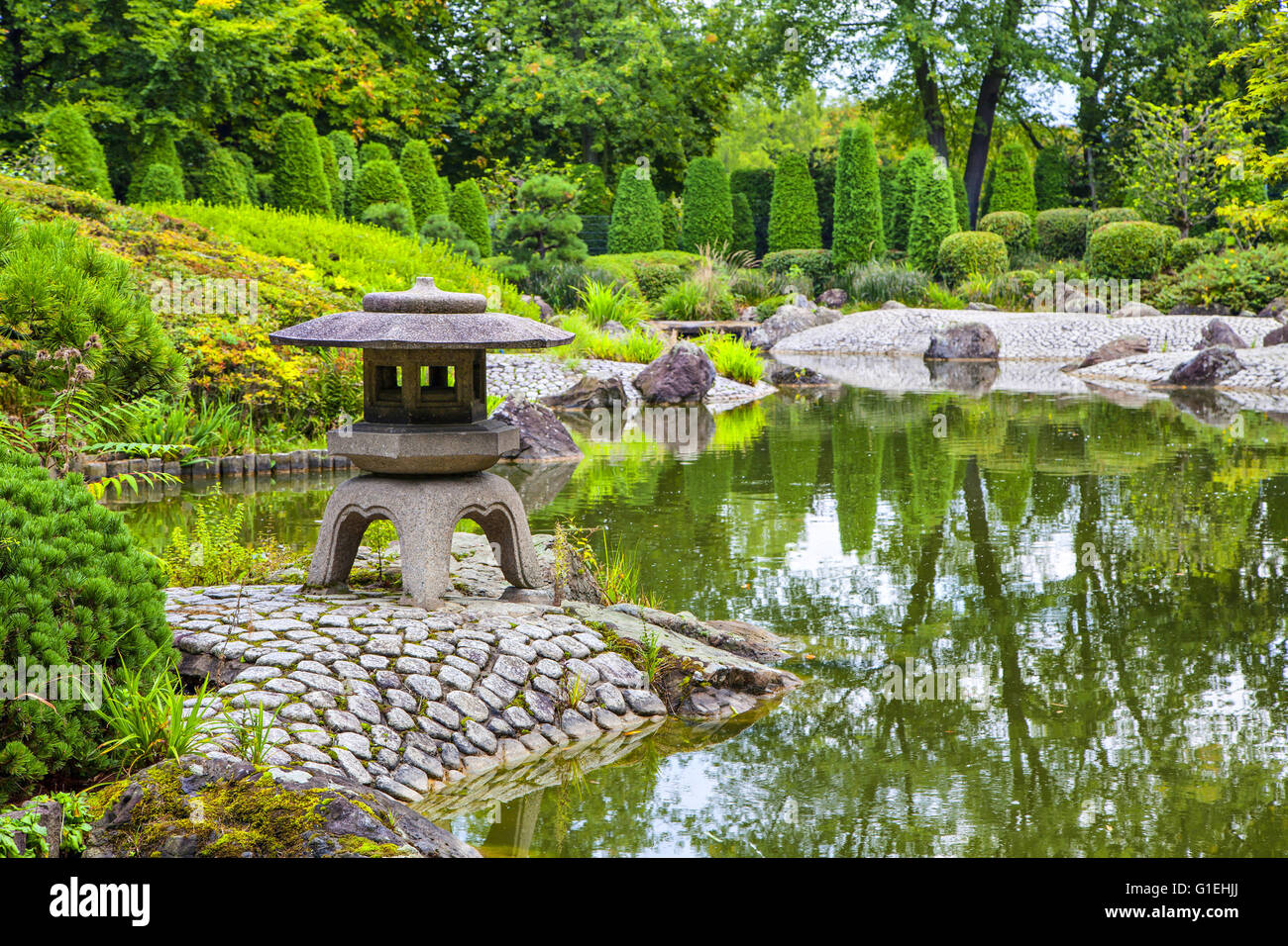 Green pond in Japanese garden in Bonn, Germany - Stock Image