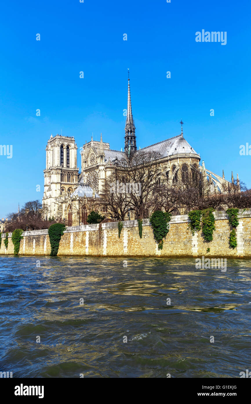 View of Notre Dame de Paris from the Seine river side - Stock Image