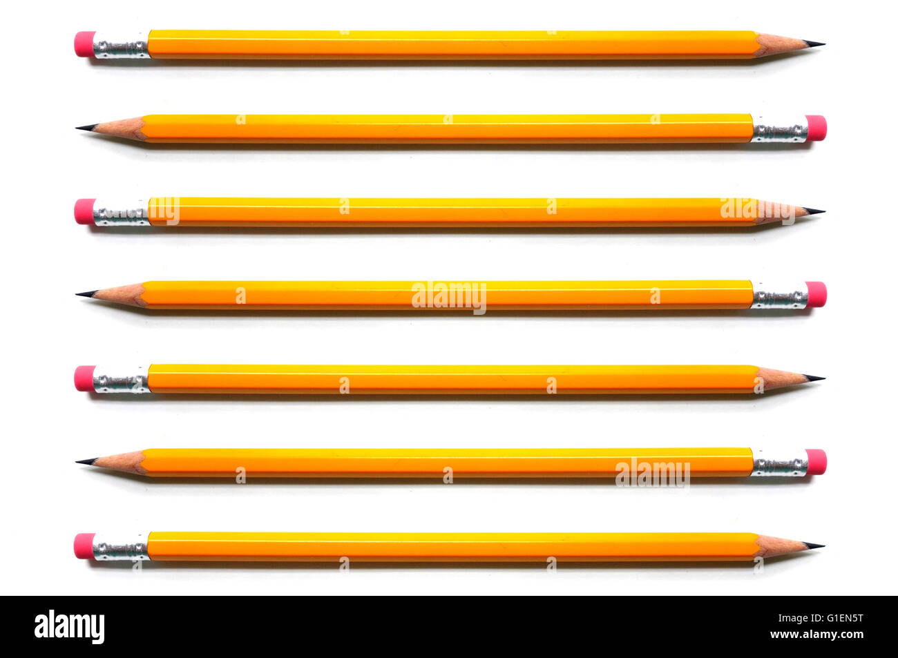 A line of yellow pencils photographed against a white background. - Stock Image