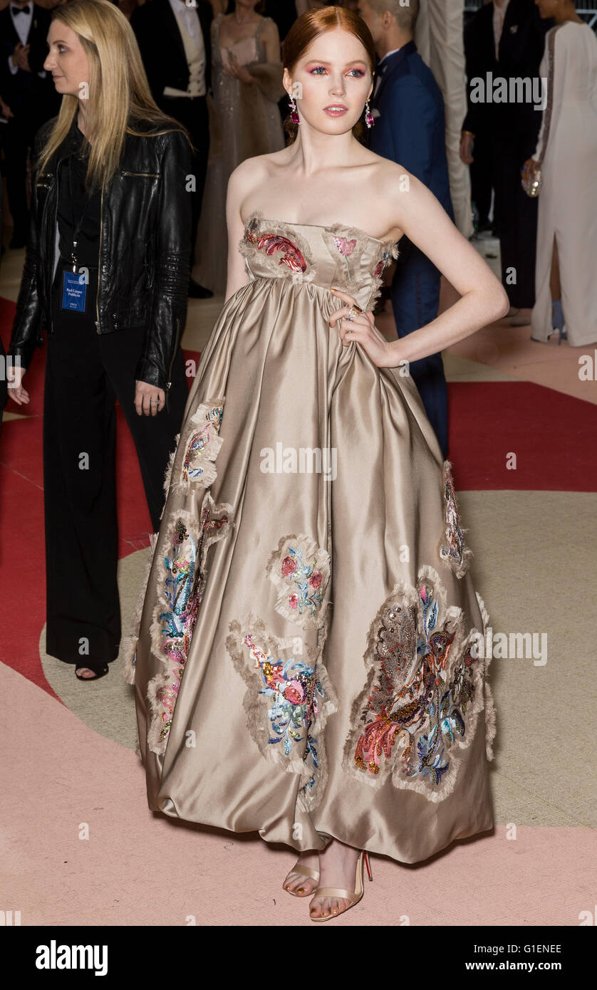 New York City, USA - May 2, 2016: Ellie Bamber attends the 2016 Met Gala - Stock Image