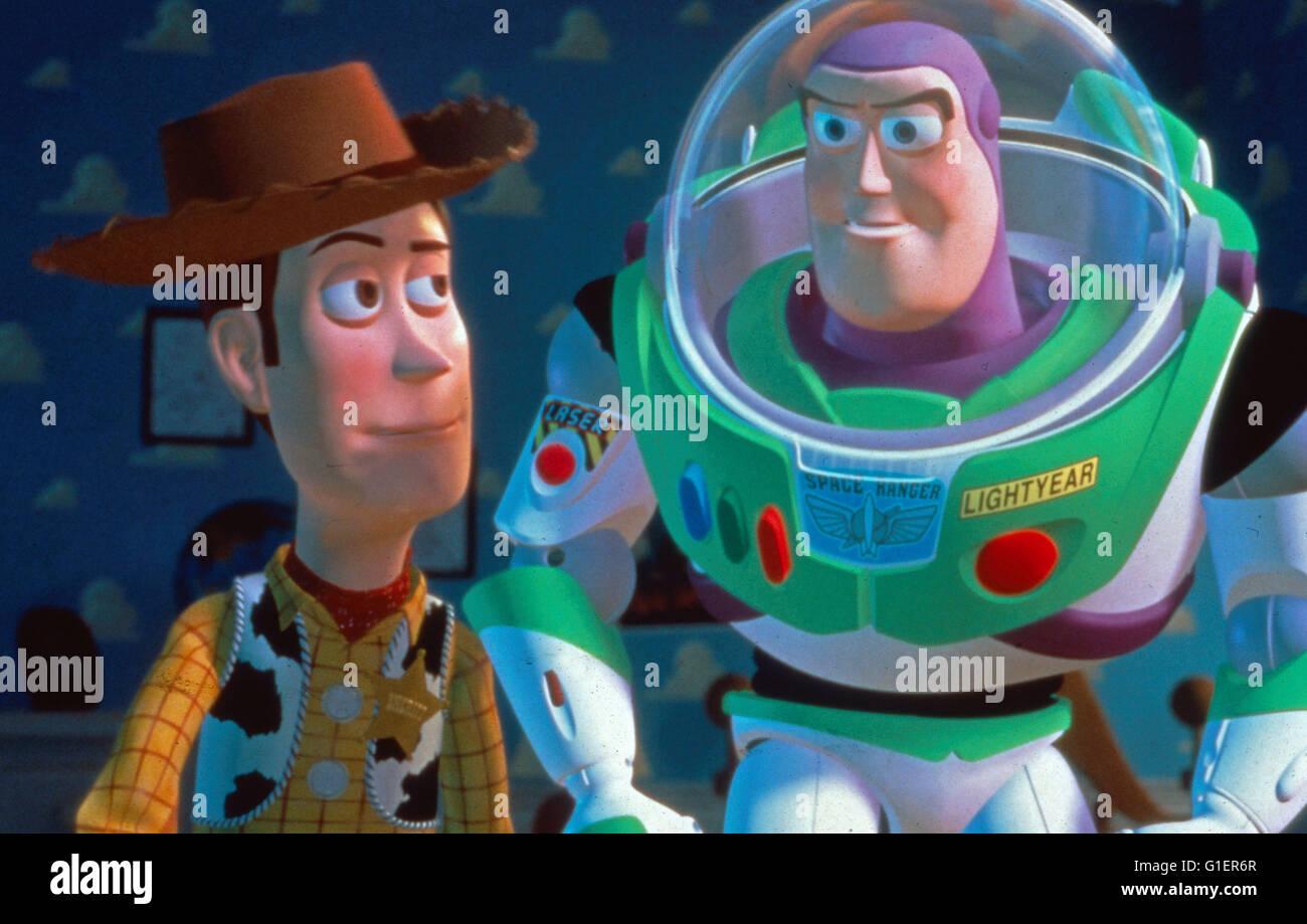 Toy Story, USA 1995, Regie: John Lasseter, Figuren: Cowboy Woody und Astronaut Buzz Lightyear - Stock Image