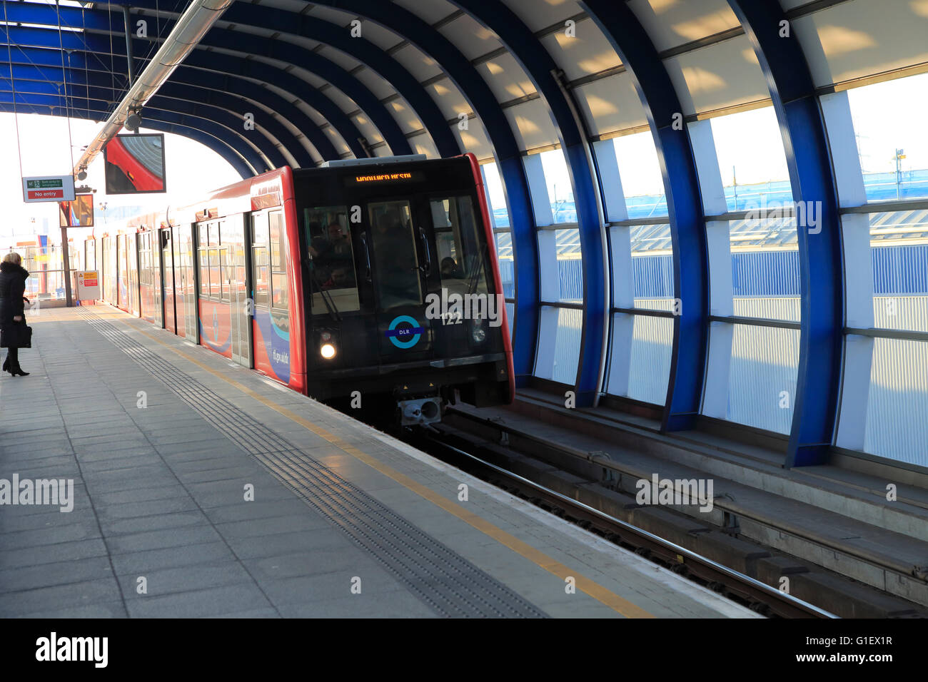 Docklands Light Railway train at City Airport station, London, England, UK - Stock Image
