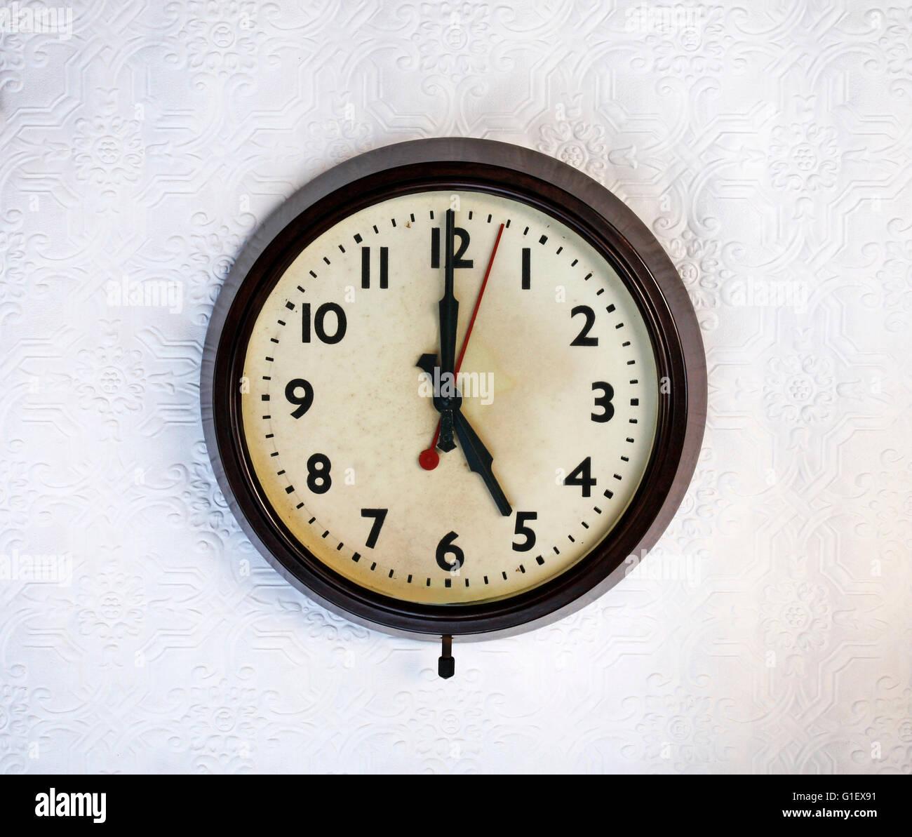 Bakelite vintage wall clock - Stock Image