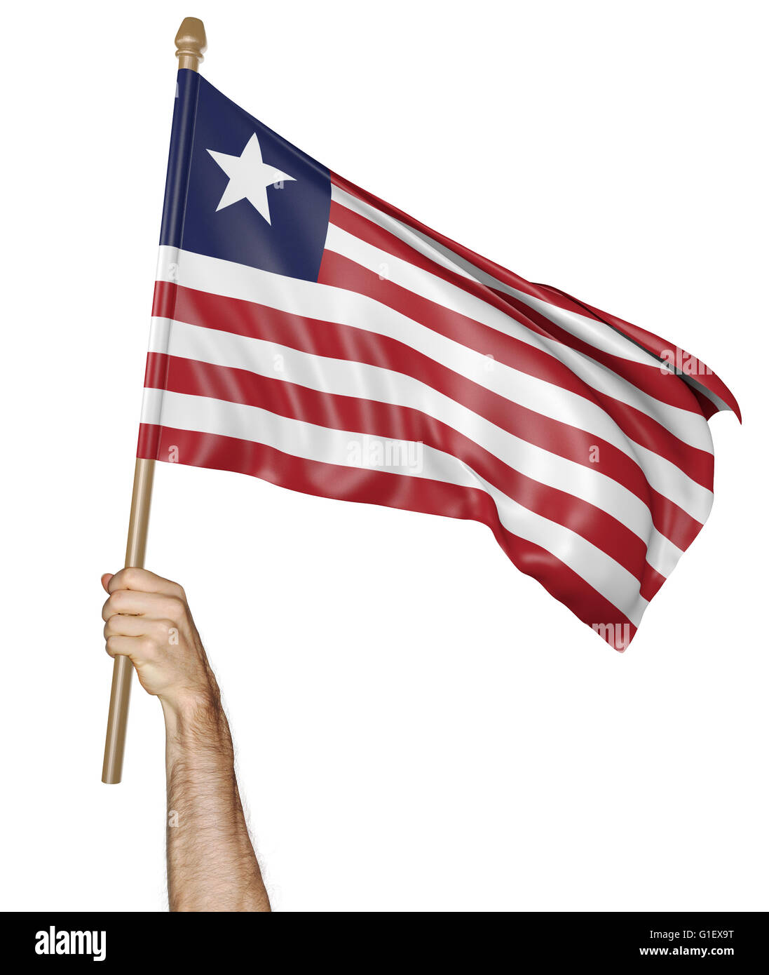Hand proudly waving the national flag of Liberia, 3D rendering - Stock Image
