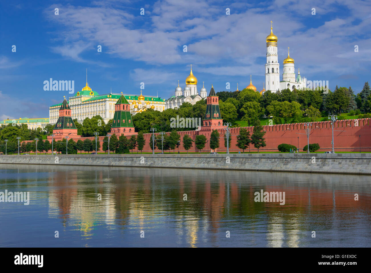 View of Kremlin churches and towers from Moscow River Bridge - Stock Image