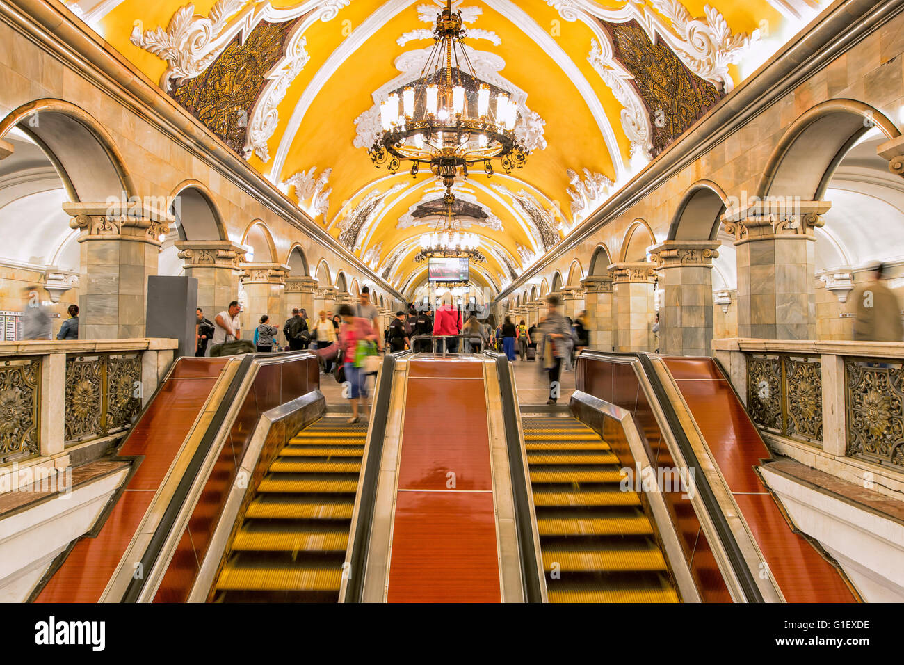 Komsomolskaya subway station in Moscow - Stock Image