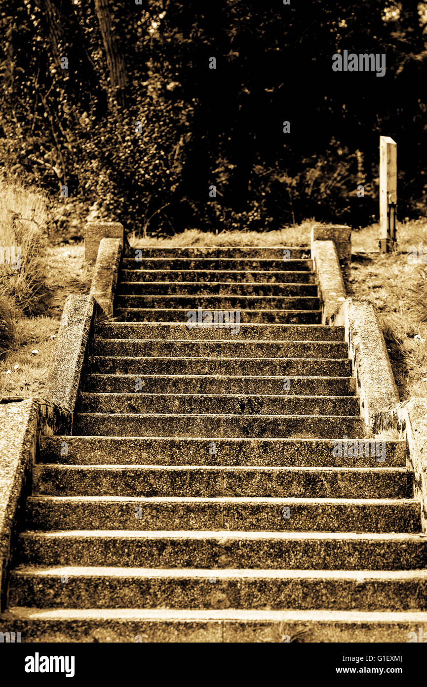 Deserted Steps or Staircase Leading to the Unknown or Knowhere - Stock Image