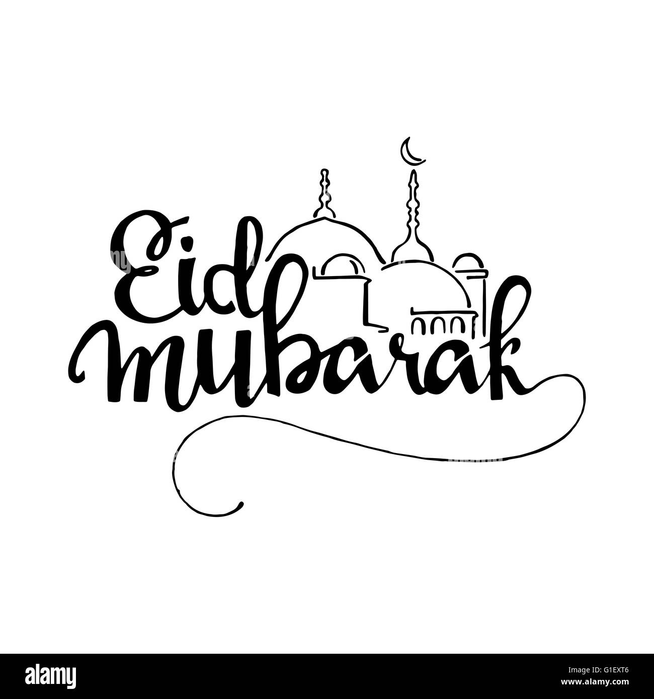 Eid Mubarak Handwritten Lettering Modern Calligraphy Vector Isolated On White Background