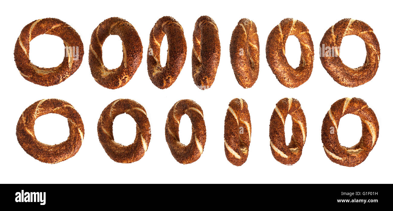 Different angles of simit - Stock Image