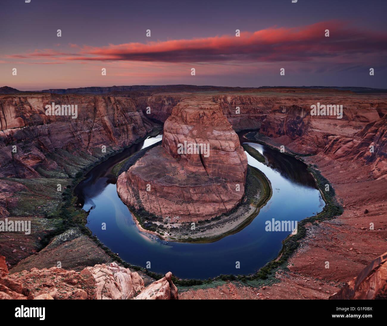 Colorado River at sunrise, Horse Shoe Bend, Page, Arizona, USA - Stock Image