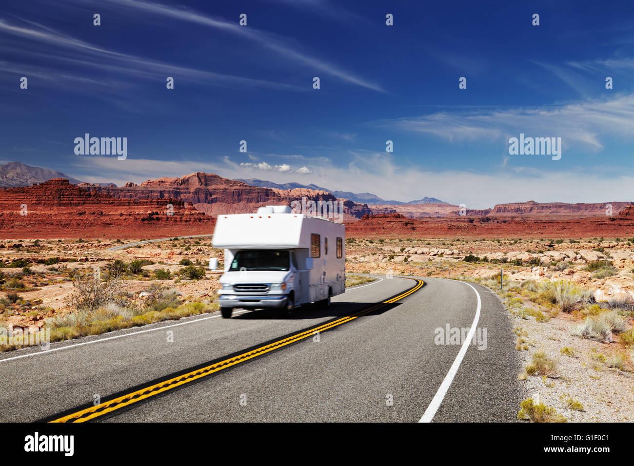 Traveling by motorhome, American Southwest, Utah - Stock Image