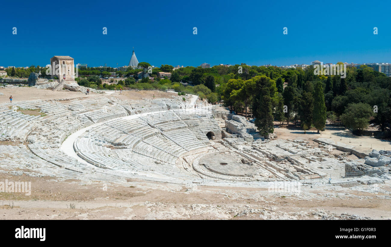 The greek theatre of Syracuse (Sicily) - Stock Image