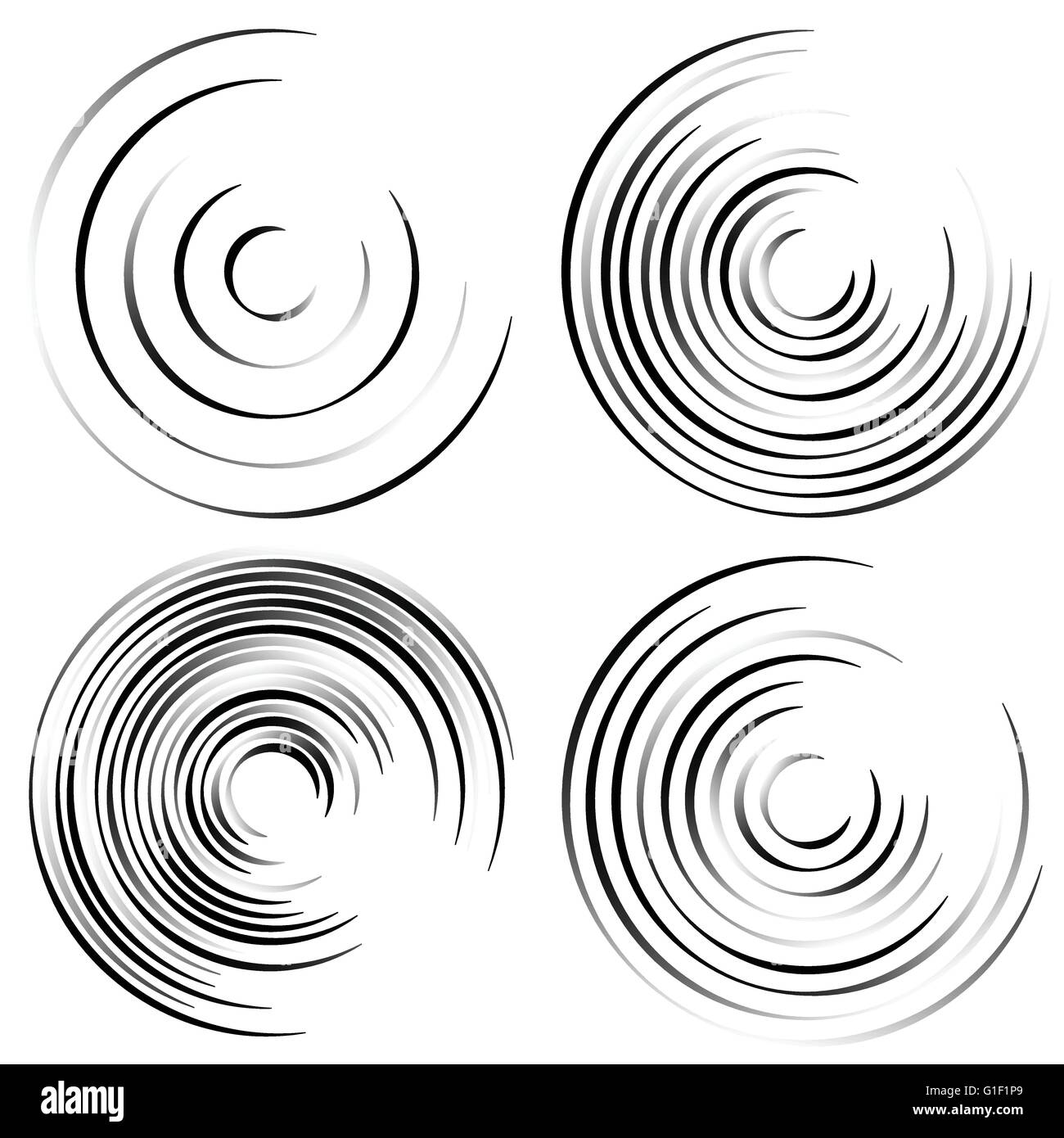Abstract spiral shapes - Spirally, whirling circular element set. - Stock Image