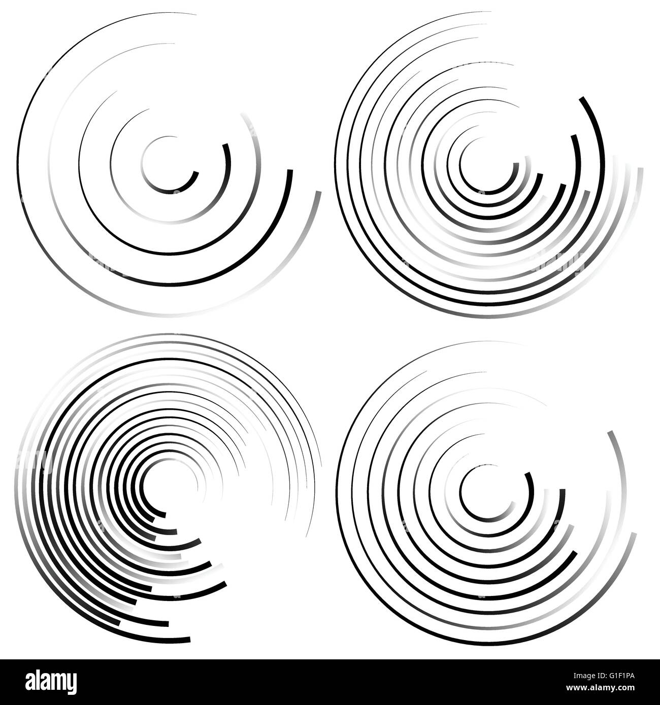 Abstract spiral shapes - Spirally, whirling circular element set. - Stock Vector