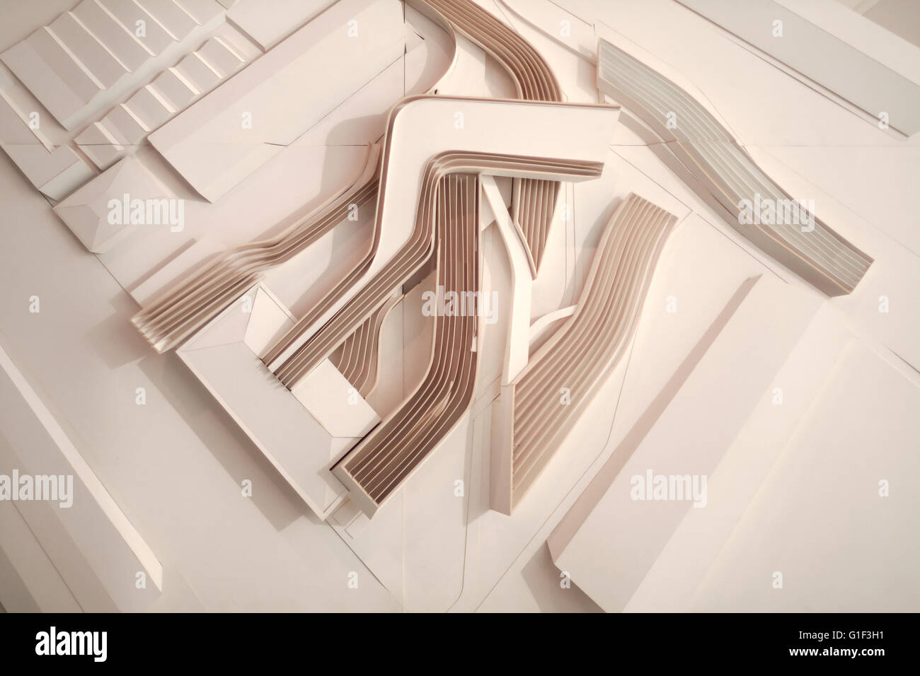 Rome, Italy - May 29, 2010: original diorama version of Maxxi's project by Zaha Hadid as shown in the first - Stock Image