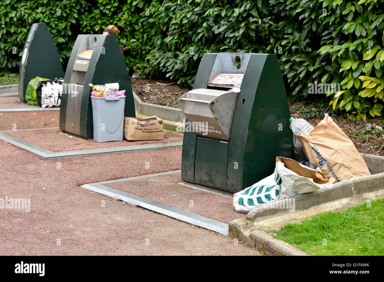 Waist and recycling containers in France Stock Photo
